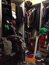 Closet clutter Before