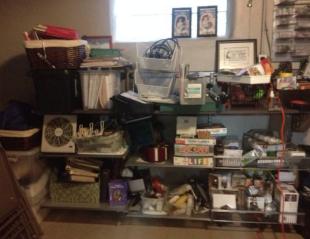 Declutter closet shelves