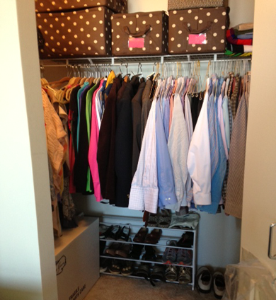 Chicago condo closet clutter after